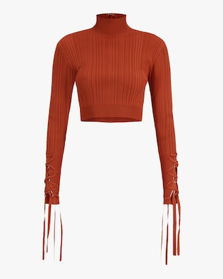 Herve Leger Ribbed Lace Crop Top 1