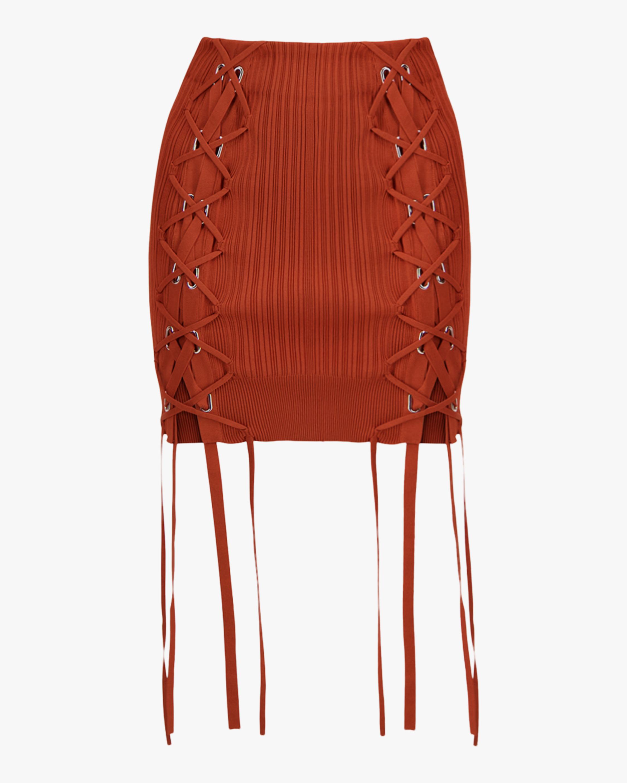 Herve Leger Rib Lace Mini Skirt 0