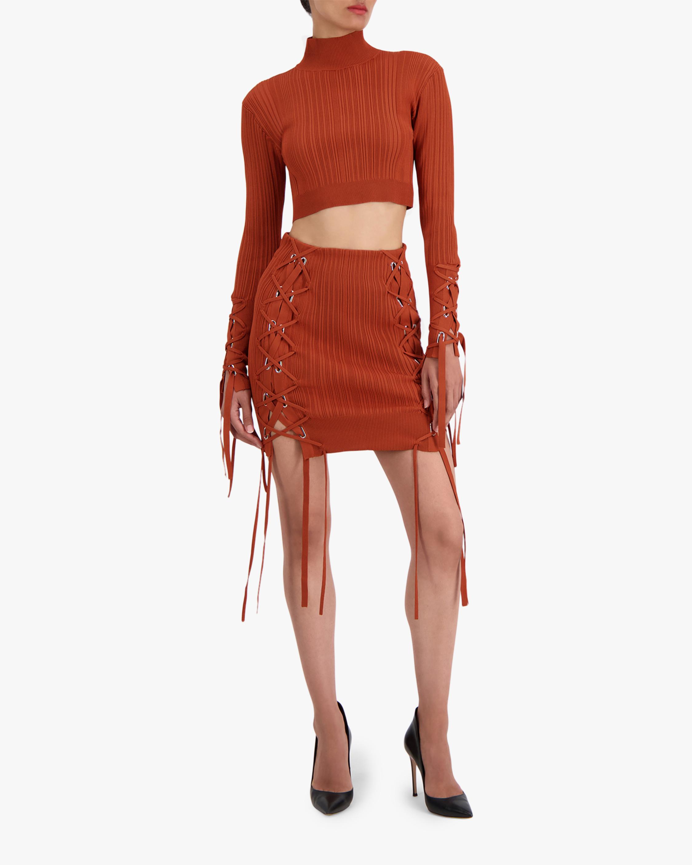 Herve Leger Rib Lace Mini Skirt 2