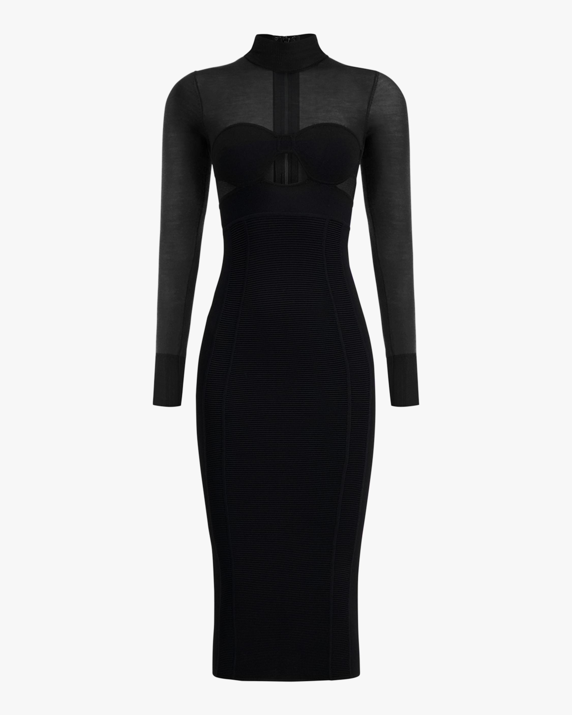 Herve Leger Long-Sleeve Corset Dress 0