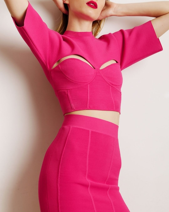 Herve Leger Corset Cropped Tee 1