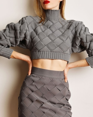 Herve Leger Chunky Weave Crop Top 2