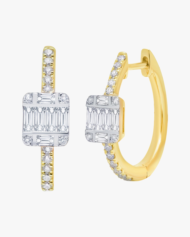 Graziela Gems Diamond Station Hoop Earrings 0
