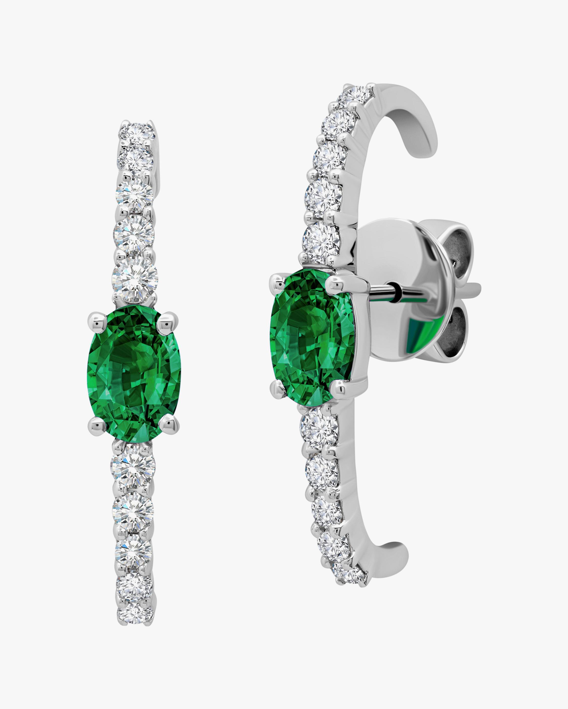 Graziela Gems Diamond & Emerald Curved Bar Earrings 0