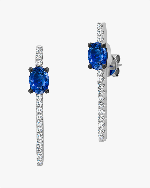 Graziela Gems Diamond & Sapphire Bar Earrings 2