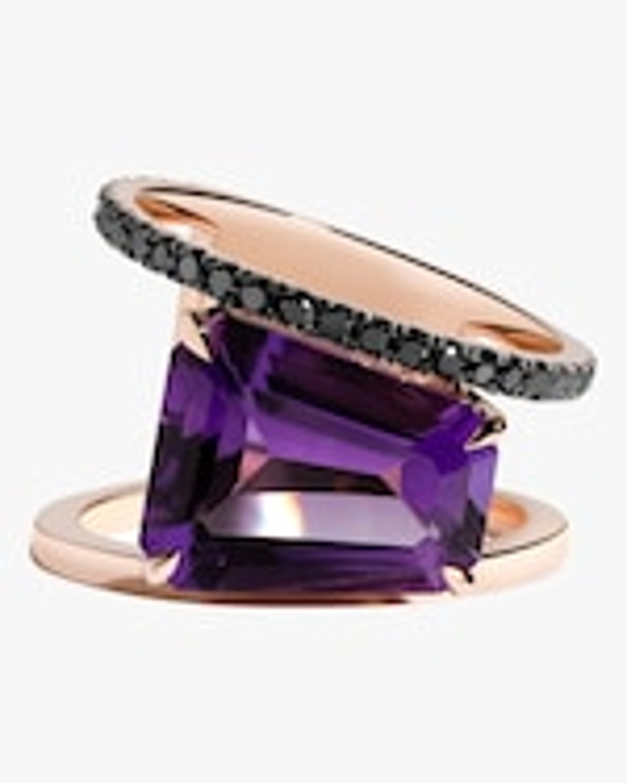 Selin Kent Amethyst & Black Diamond Pera Ring 0
