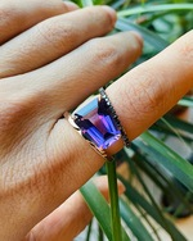 Selin Kent Amethyst & Black Diamond Pera Ring 1