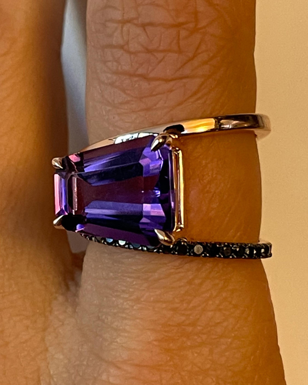 Selin Kent Amethyst & Black Diamond Pera Ring 2