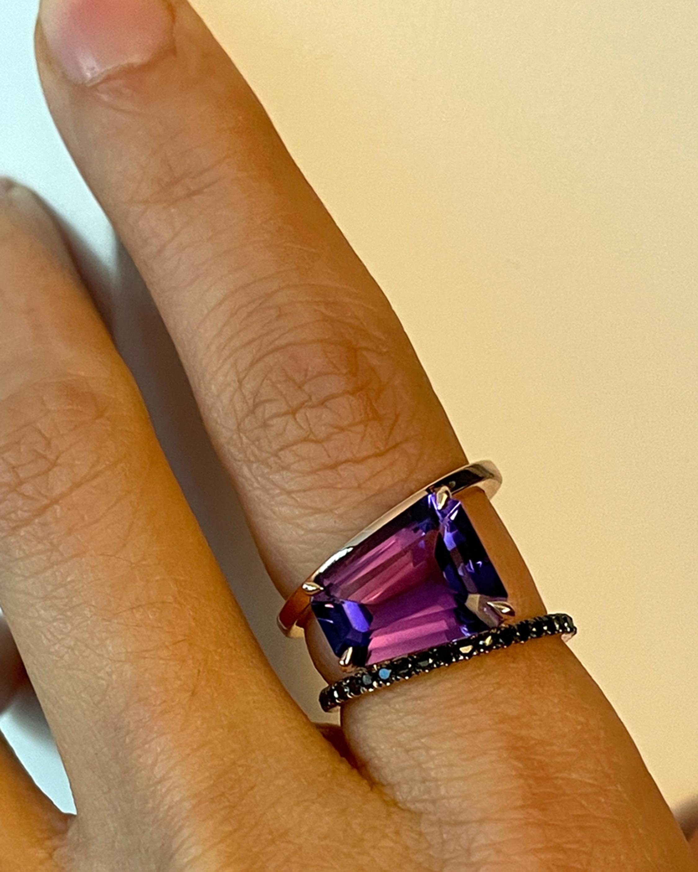 Selin Kent Amethyst & Black Diamond Pera Ring 3