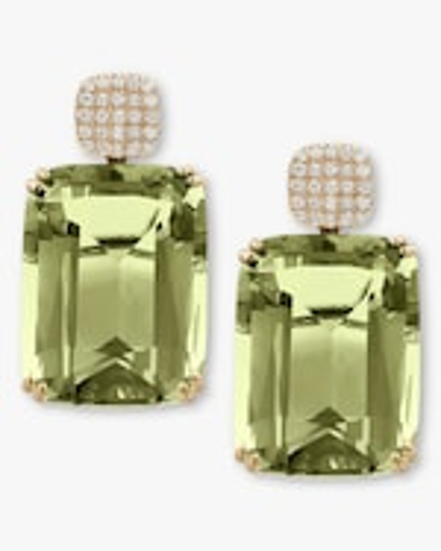 Goshwara Diamond & Prasiolite Cushion Earrings 0