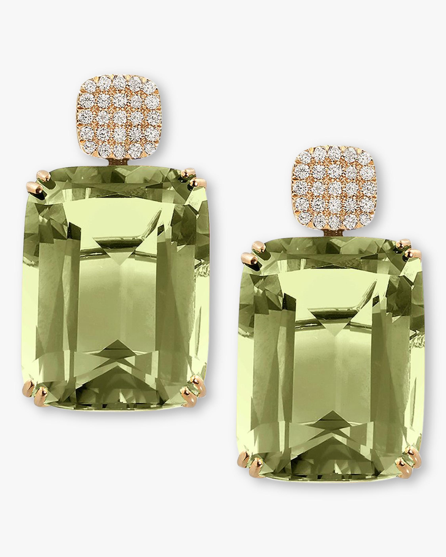 Goshwara Diamond & Prasiolite Cushion Earrings 2