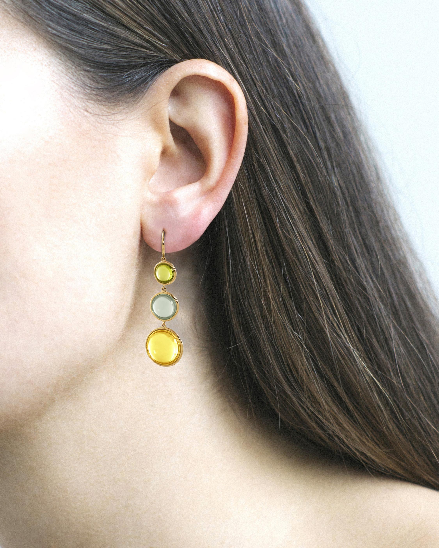 Goshwara Gemstone Multi-Tier Disc Earrings 2