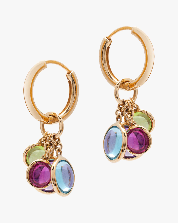 Goshwara Gemstone Disc Charm Hoop Earrings 1