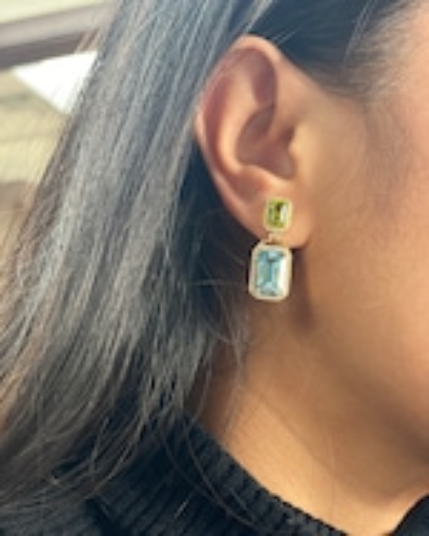Goshwara Diamond & Blue Topaz Emerald-Cut Earrings 1