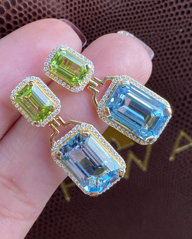 Goshwara Diamond & Blue Topaz Emerald-Cut Earrings 2