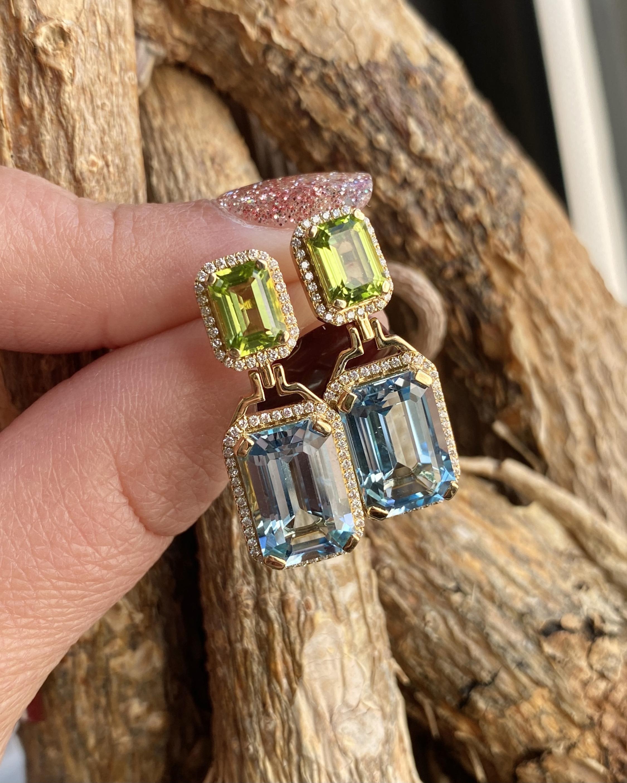 Goshwara Diamond & Blue Topaz Emerald-Cut Earrings 3