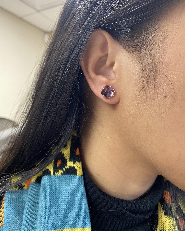 Goshwara Sugarloaf Amethyst & Diamond Earrings 2