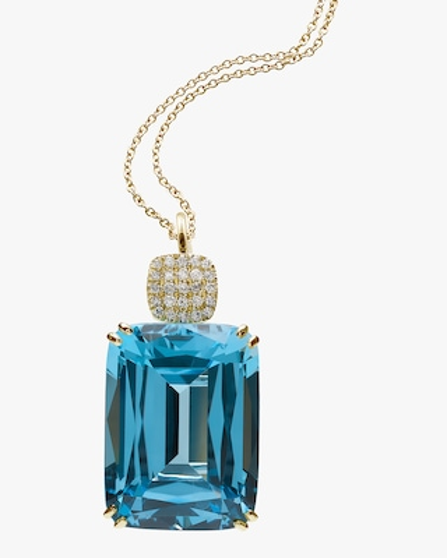 Goshwara Diamond & Blue Topaz Pendant Necklace 1