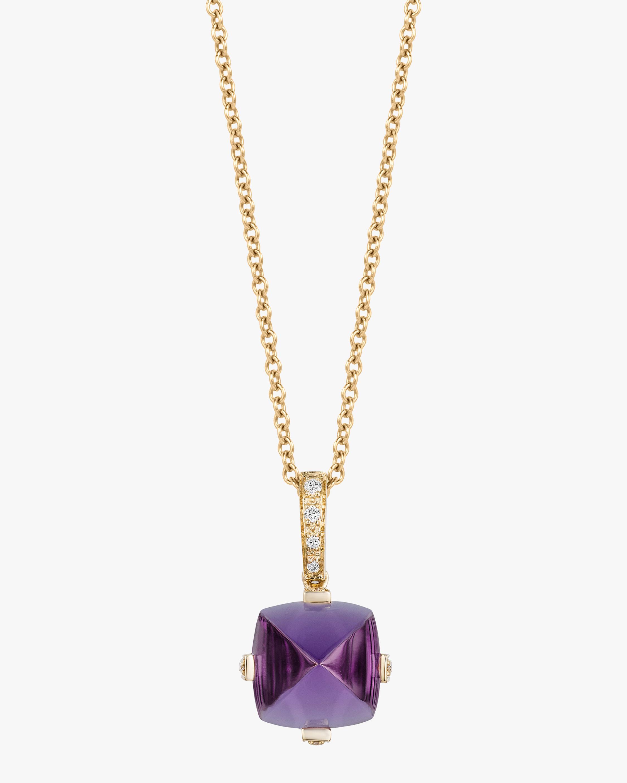 Goshwara Sugarloaf Amethyst & Diamond Pendant Necklace 1