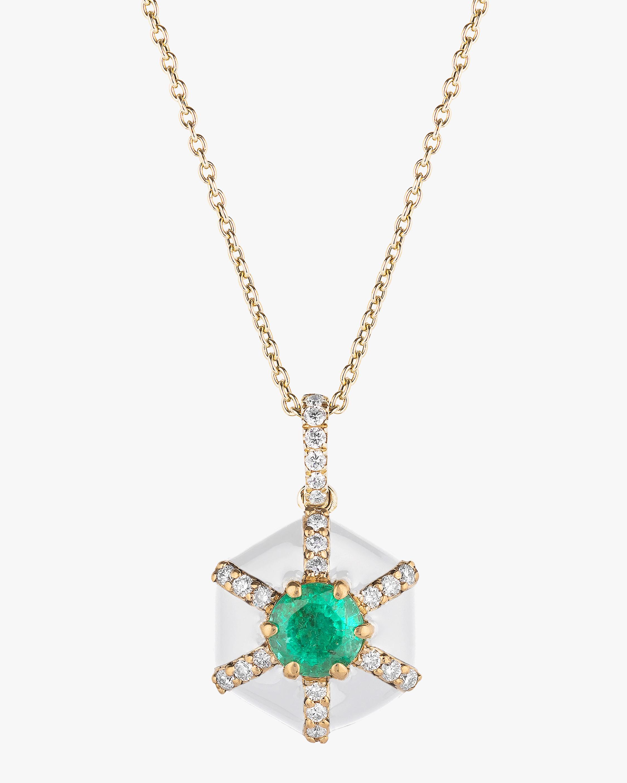 Goshwara Queen Round Emerald Pendant Necklace 0