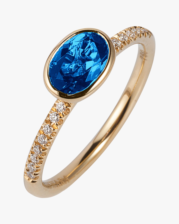 Goshwara Blue Topaz & Diamond Stackable Ring 0
