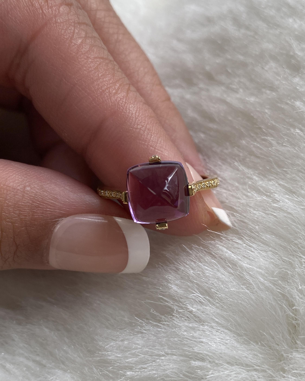 Goshwara Sugarloaf Amethyst & Diamond Ring 2
