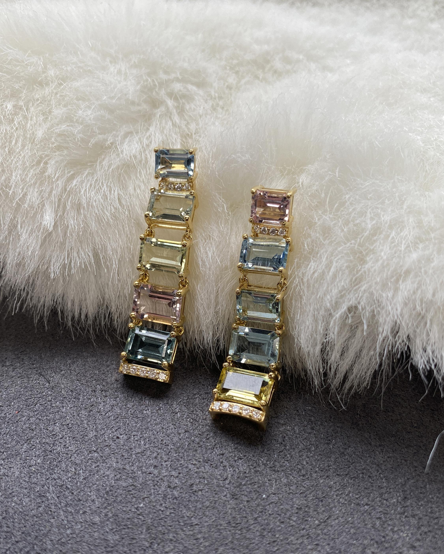 Goshwara One of a Kind Diamond & Aquamarine Hoop Earrings 2