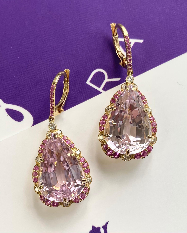 Goshwara One of a Kind Kunzite & Diamond Drop Earrings 2