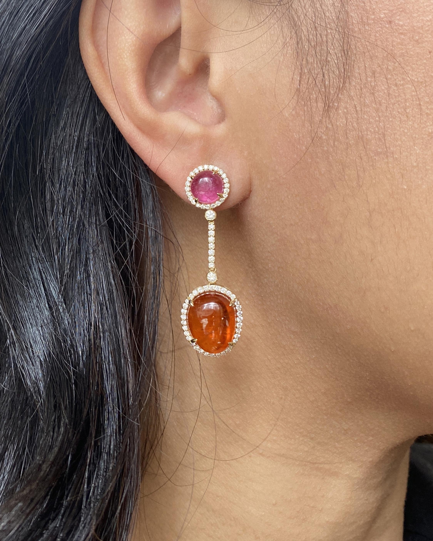 Goshwara One of a Kind Garnet & Rubelite Drop Earrings 1