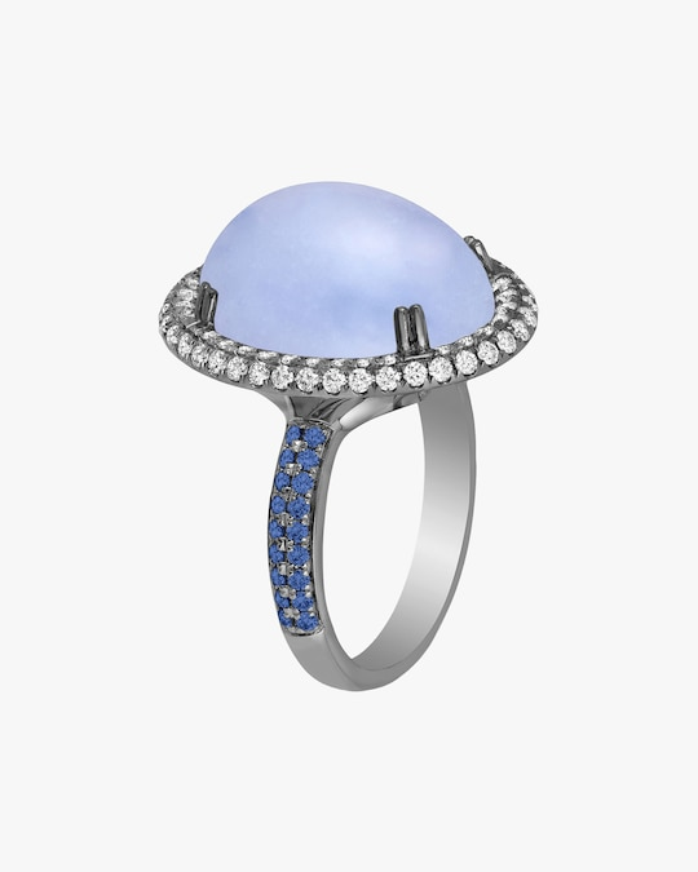 Goshwara Limited-Edition Blue Chalcedony & Diamond Ring 0