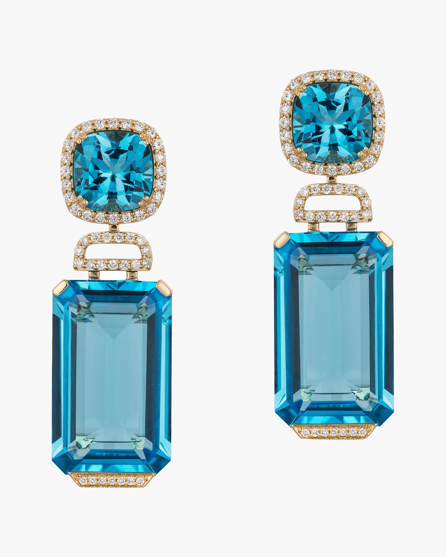 Goshwara Diamond & Blue Topaz Drop Earrings 2