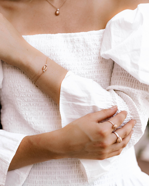 Renna Blue Topaz Thread & Shell Bracelet 1