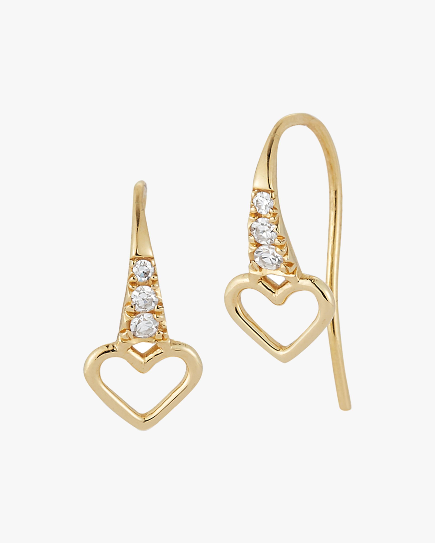 Renna Mini Heart Fish Hook Earrings 2
