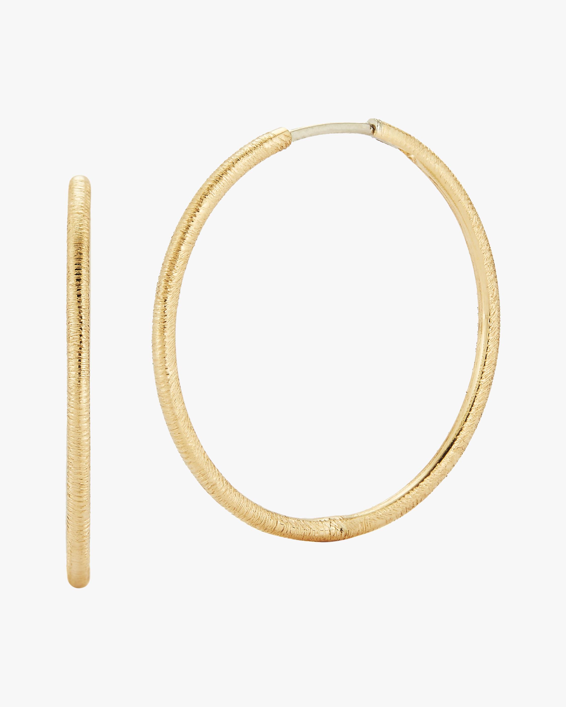 Renna Large Slim Florentine Hoop Earrings 1