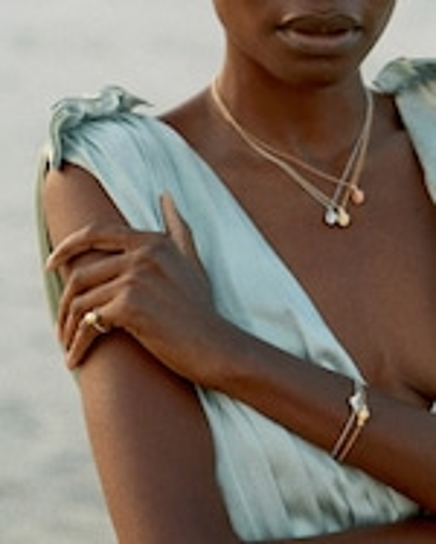 Renna Diamond & Gemstone Thread & Shell Necklace 2