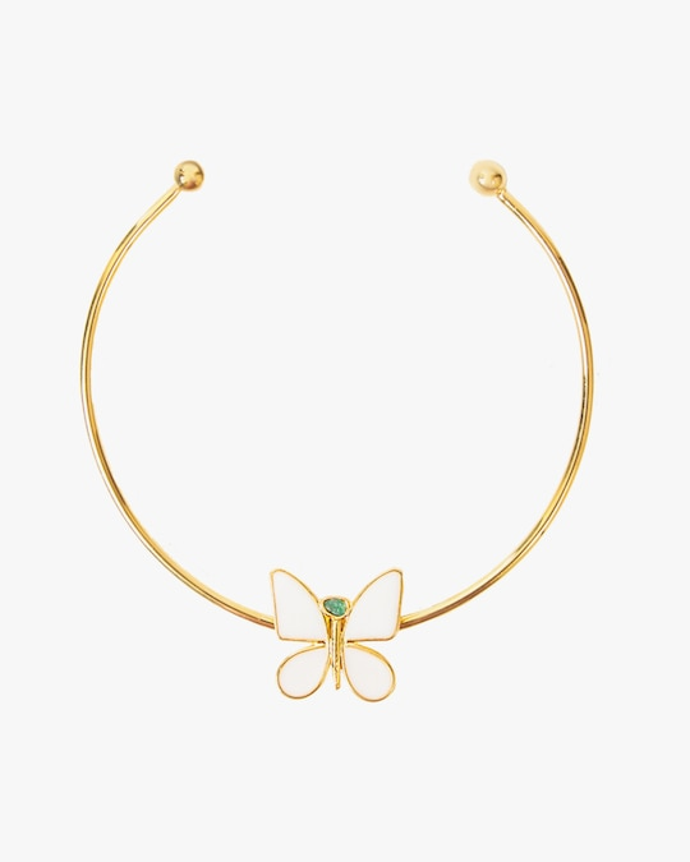 Vanessa Arcila White Butterfly Emerald Necklace 0