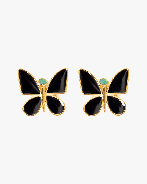 Vanessa Arcila Black Butterfly Emerald Earrings 0