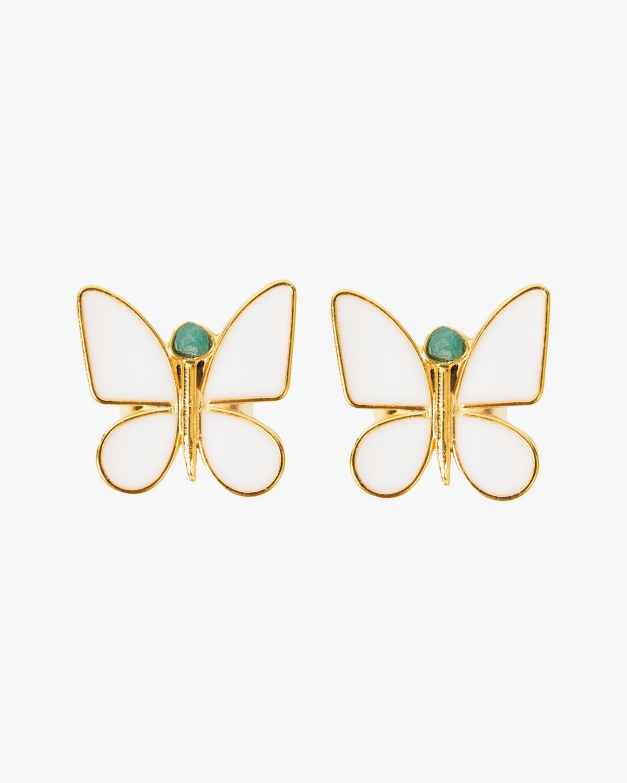 Vanessa Arcila White Butterfly Emerald Earrings 0