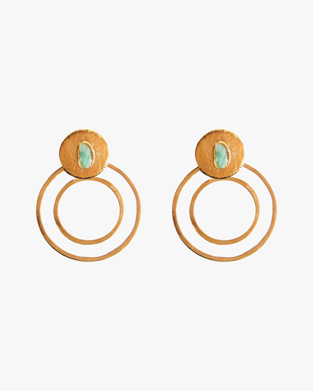 Vanessa Arcila Circle 2-in-1 Emerald Earrings 0