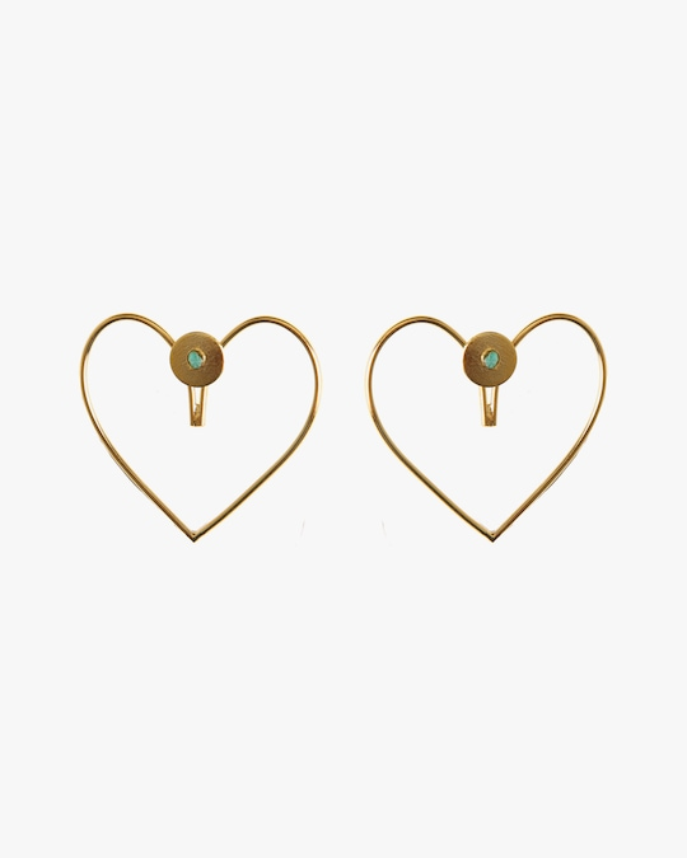 Vanessa Arcila Heart 2-in-1 Emerald Earrings 0