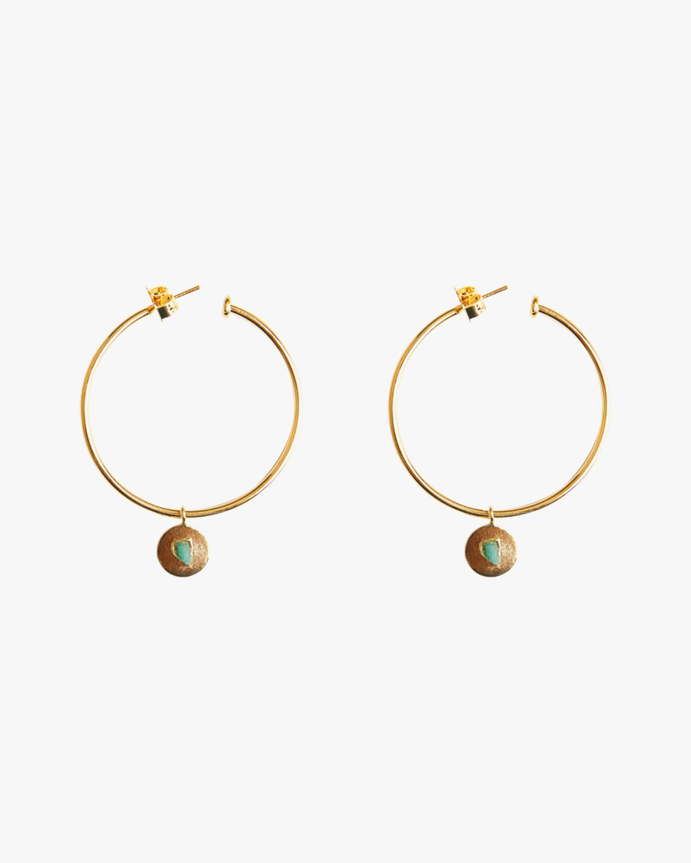 Vanessa Arcila Pendant Circle Emerald Earrings 0