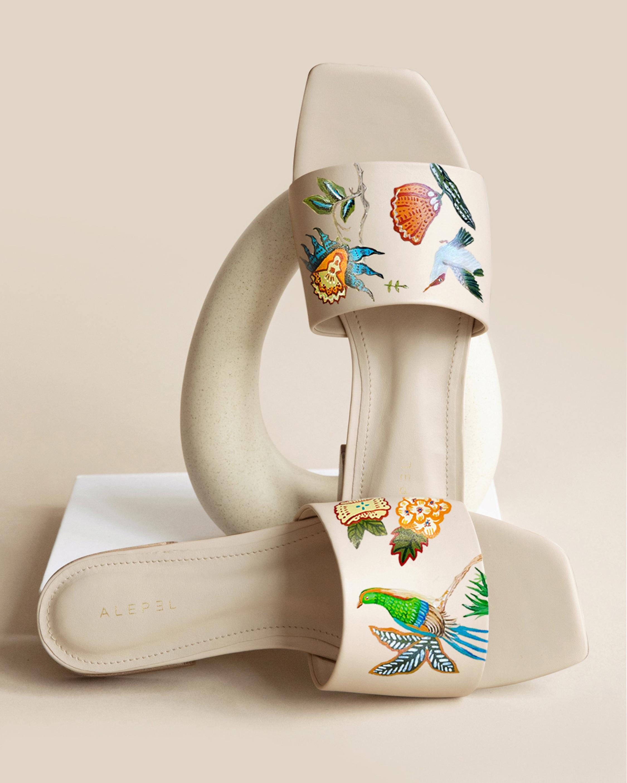 Alepel Bird Floral Square-Toe Slide 2