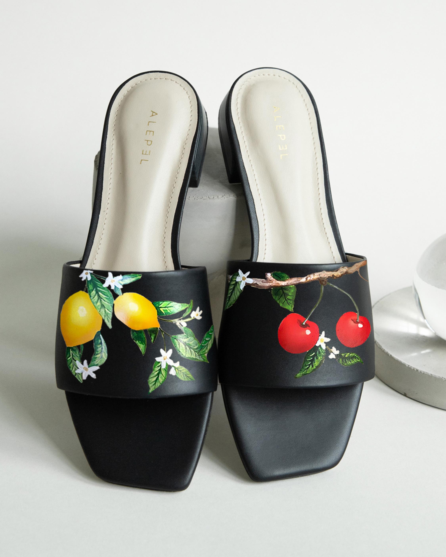 Alepel Lemon & Cherries Square-Toe Slide 1