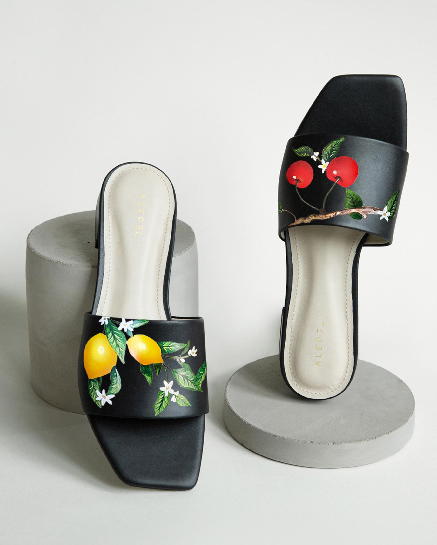 Alepel Lemon & Cherries Square-Toe Slide 2