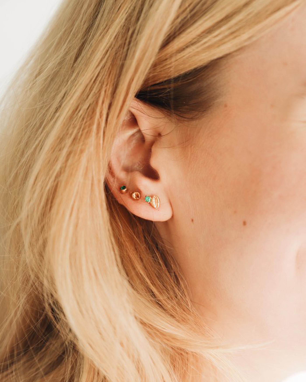 Renna Single Bitsy Bean Emerald Stud Earring 2