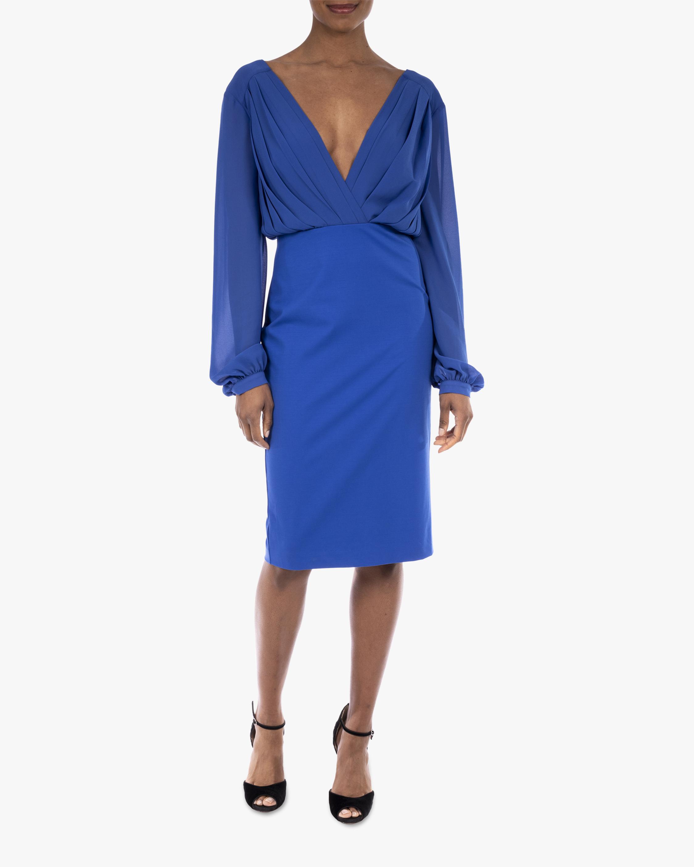 Badgley Mischka Pleated V-Neck Day Dress 0