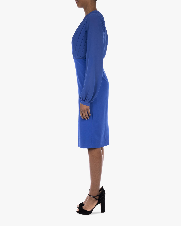 Badgley Mischka Pleated V-Neck Day Dress 2