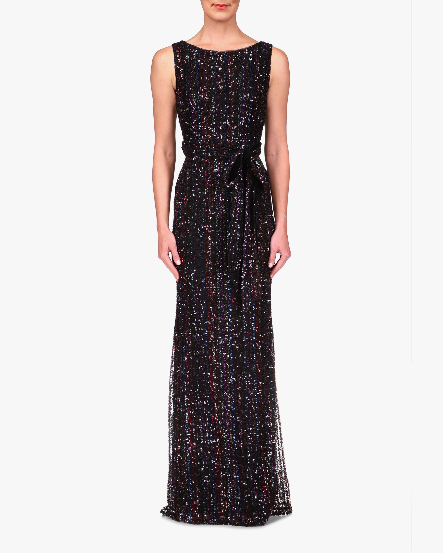 Badgley Mischka Stripe Sequin Gown 0