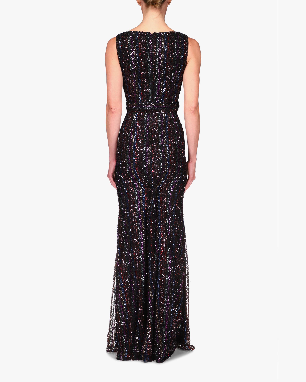 Badgley Mischka Stripe Sequin Gown 2