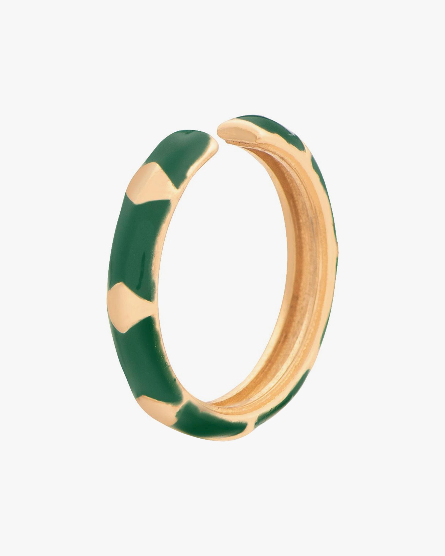 Penelope Jewelry Single Green Enamel Geometric Ear Cuff 2